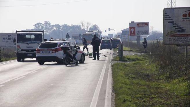 L'incidente mortale sull'Emilia (foto Valtriani)