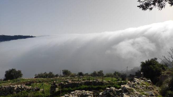 La nebbia che ha avvolto il golfo della Spezia: la vista è dal monte Muzzerone