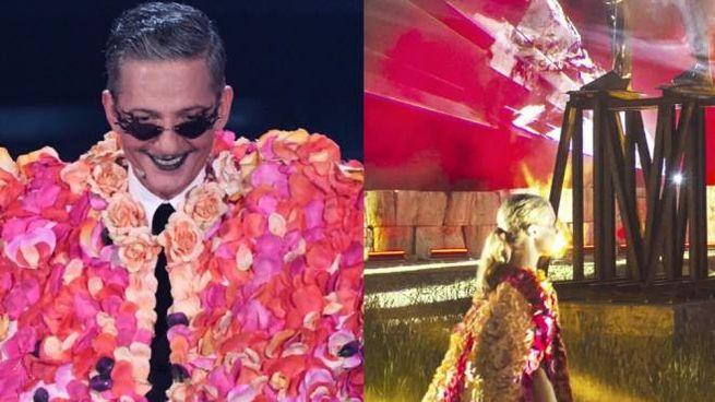 L'abito a fiori indossato da Fiorello già visto nel 2019 al Teatro del Silenzio