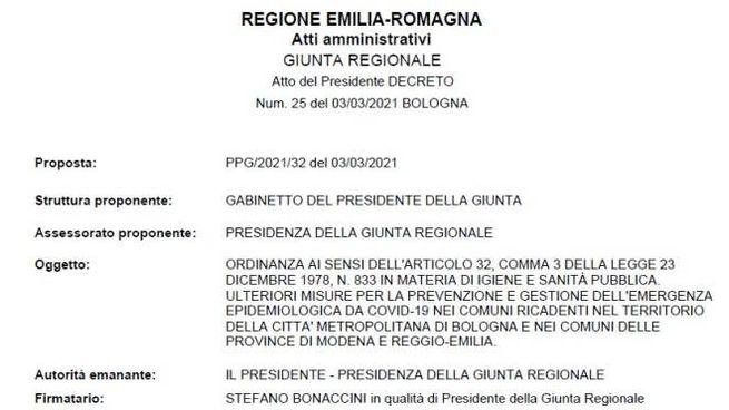 Ordinanza Regione Emilia Romagna del 3 marzo