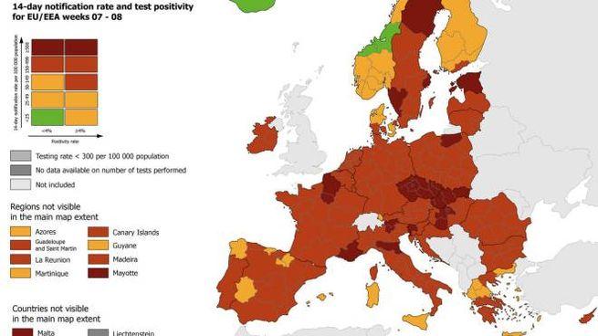Covid, Emilia-Romagna in rosso scuro nella nuova mappa Ue (Ansa)