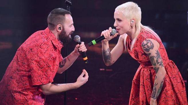 I Coma_Cose sul palco di Sanremo 2021 (Ansa)