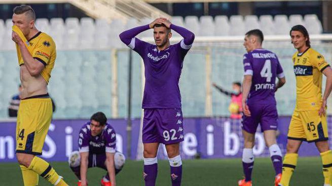 La delusione viola in un momento della partita col Parma