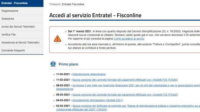 La pagina dei Servizi telematici dell'Agenzia delle Entrate