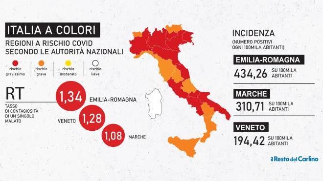 Cartina Italia Politica A Colori.Zona Rossa E Arancione Oggi I Nuovi Colori Delle Regioni Cronaca Ilrestodelcarlino It