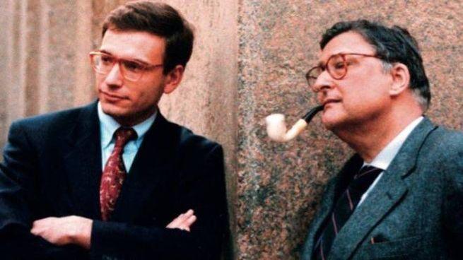 Enrico Letta, oggi 54 anni, in una foto d'archivio col suo maestro, Beniamino Andreatta