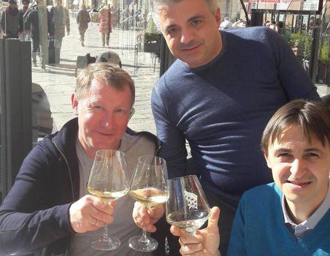 Da sinistra il kazako Igor Bidilo, azionista di maggioranza di Sielna, con Cataldo Staffieri e il socio Maxim Constantin Catalin