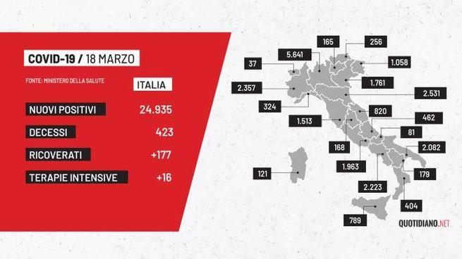 Covid, la mappa dell'Italia del 18 marzo