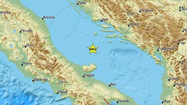 Una scossa di terremoto di magnitudo 5.6 nell'Adriatico centrale (Ansa)