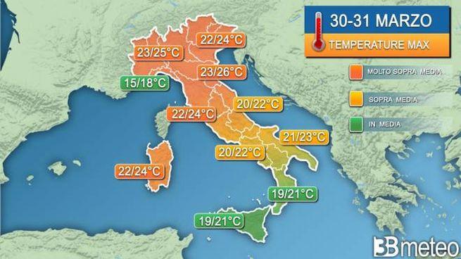 Temperature in salita sull'Italia (grafico 3bmeteo)