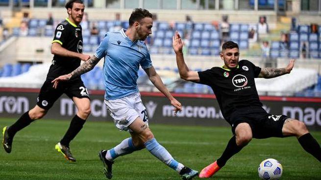 Lazzari va in gol contro lo Spezia (Ansa)