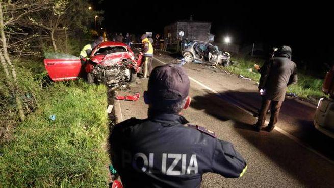 Rilievi dopo l'incidente a Cassino (Ansa)
