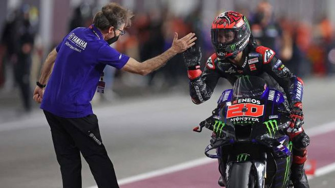 Quartararo esulta dopo la vittoria del Gp di Doha 2021 (Ansa)