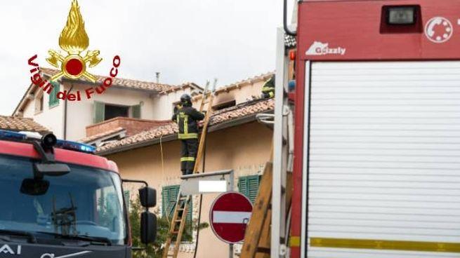 L'intervento dei vigili del fuoco a Capannoli