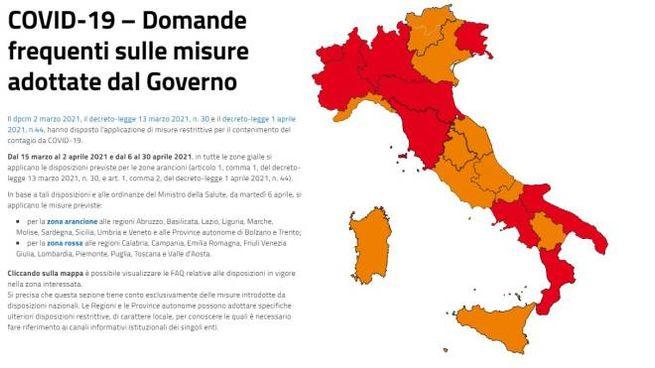 La mappa colorata dell'Italia