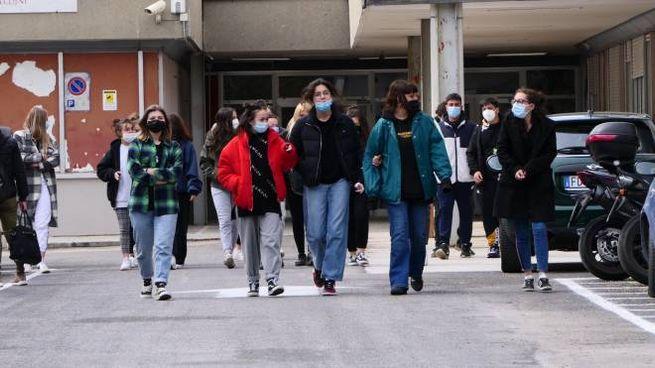 Gli studenti del liceo Rinaldini esultano per il rientro in classe