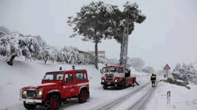 I vigili del fuoco sulla neve