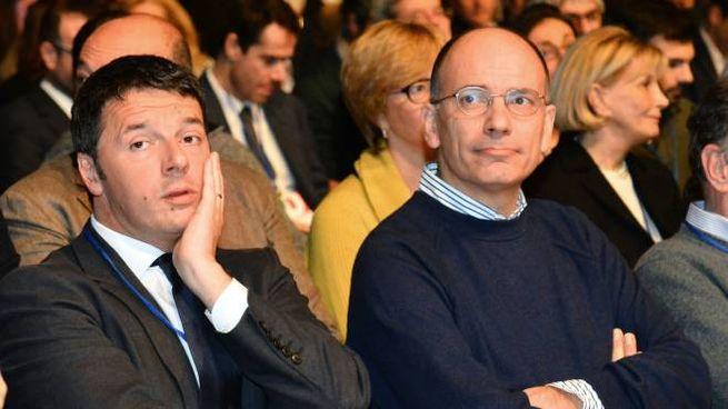Matteo Renzi ed Enrico Letta (ImagoE)