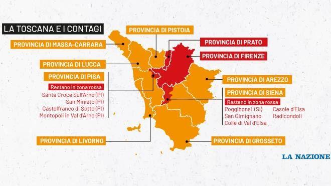 Cartina Toscana Provincia Di Siena.Zone Rosse Toscana Cinque Giorni In Piu Per Non Ingolfare Gli Ospedali Cronaca Lanazione It