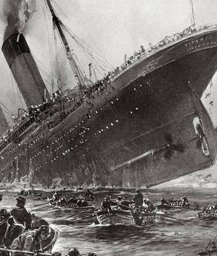 Il naufragio del Titanic, il 15 aprile 1912, in un quadro dell'epoca di Willy Stöwer
