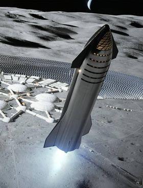 Un'elaborazione di SpaceX sulla Luna