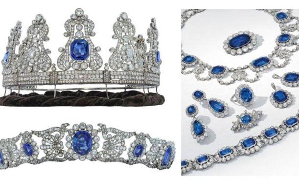 La parure in diamanti e zaffiri proveniente dalla collezione di Stéphanie de Beauharnais