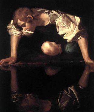 """Il """"Narciso"""" di Caravaggio (. 1597-1599). Sotto, un selfie di Cindy Sherman"""