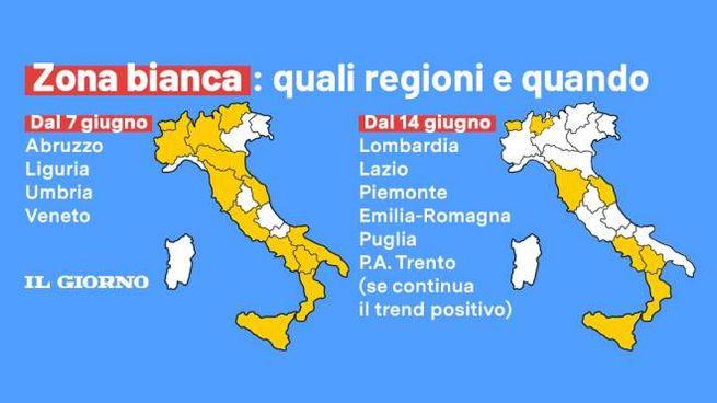 Umbria Cartina Italia.Zona Bianca Per Altre 4 Regioni Da Oggi 7 Giugno La Data Della Lombardia Cronaca Ilgiorno It