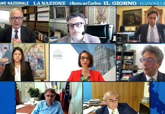 Un momento dell'evento digitale, moderato da Michele Brambilla, direttore QN-il Resto del Carlino. , e da Beppe Boni, condirettore de il Resto del Carlino