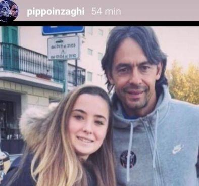 La foto postata sui social da Filippo Inzaghi, 47 anni, con la 18enne Camilla Canepa