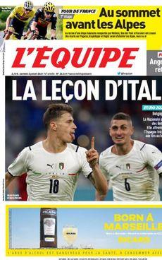 La copertina dell'Equipe di ieri