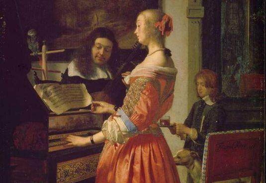 """Sopra, """"Donna al clavicembalo"""" di Frans van Mieris il Vecchio (1635–1681)"""