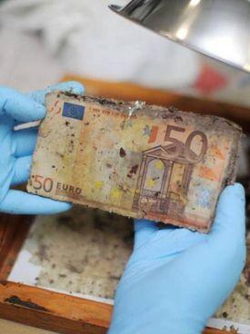 Una banconota da 50 euro da smaltire. Sopra, un bricchetto di soldi frantumati