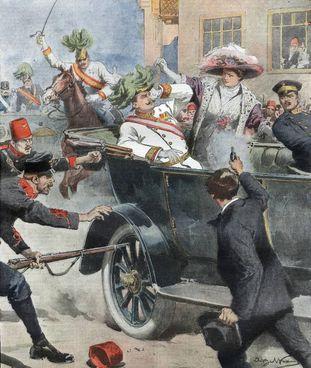 Nella tavola di Achille Beltrame Gavrilo Princip uccide l'arciduca e la moglie