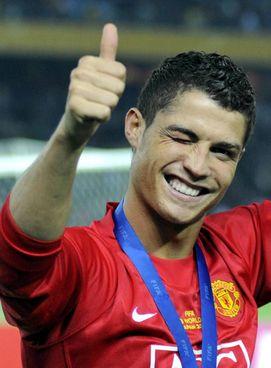 Cristiano Ronaldo in maglia United: a Manchester ha già vinto tre Premier League e una. Champions