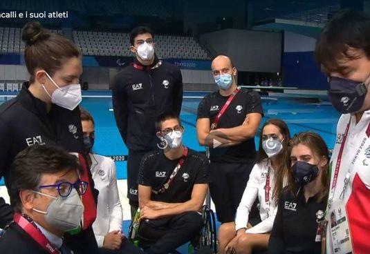 Luca Pancalli (in primo piano a sinistra) durante l'incontro in diretta RaiSport