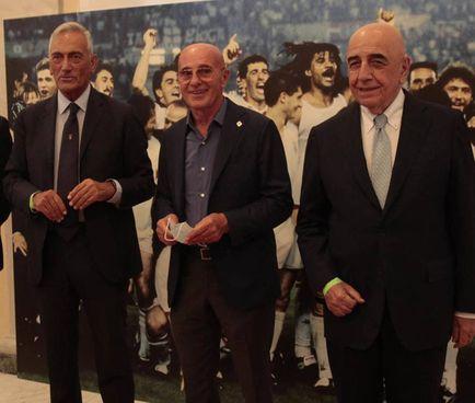 Il presidente della Figc Gabriele Gravina, Arrigo Sacchi e Adriano Galliani (Corelli)