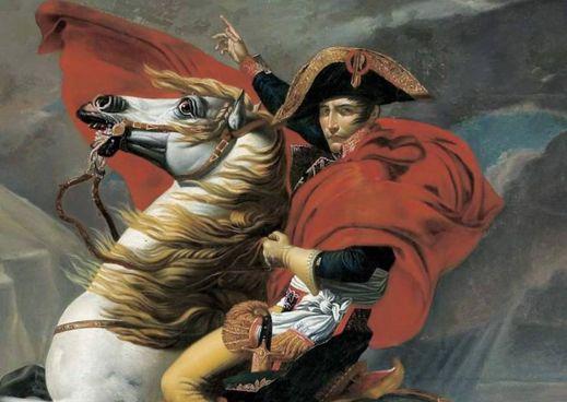 Napoleone Bonaparte attraversa le Alpi nel quadro di. Jacques-Louis David