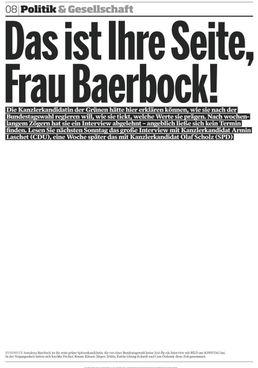 """La pagina bianca apparsa sull'edizione di ieri della quotidiano demenicale """"Bild am Sonntag"""" che avrebbe dovuto ospitare l'intervista alla candidata dei verdi Annalena Baerbock"""