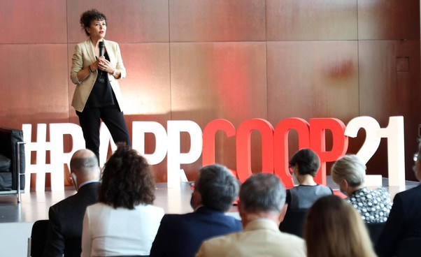 L'ad di Coop Italia Maura Latini. alla presentazione del Rapporto Coop 2021