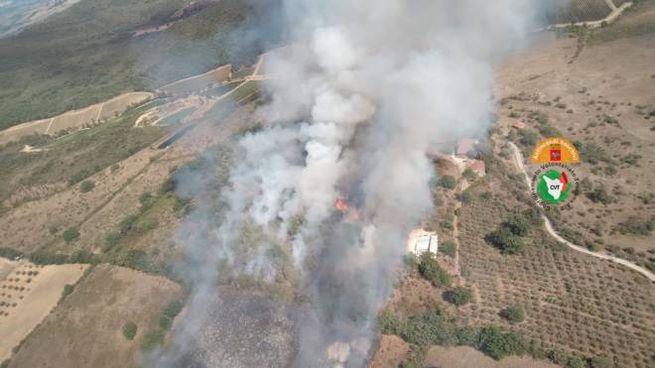L'incendio a Gavorrano (Foto Regione Toscana)