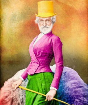 Il manifesto per Un ballo in maschera con Verdi in abiti femminili