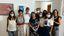 Nella foto Federica Pellegrini con le operatrici di Casa Fiorinda e l'assessora Chiodo