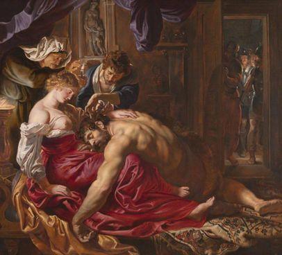 'Dalida e Sansone', datato 1609-1610, è stato attribuito a Rubens (1577-1640)