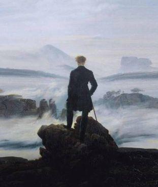"""Il """"Viandante sul mare di nebbia"""" di Caspar David Friedrich, 1818"""
