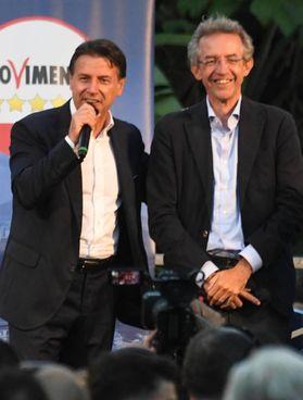 Conte e il candidato Gaetano Manfredi
