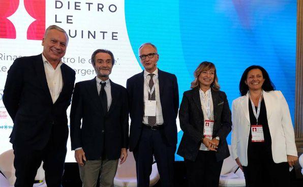 Da sinistra, Dario Allevi, 56 anni, Attilio Fontana (69),. Michele Brambilla (62), Donatella Tesei (63) e Renata Tosi (54)
