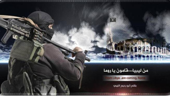 Roma nel mirino dell'Isis, L'immagine diffusa su twitter dai jihadisti (Ansa)