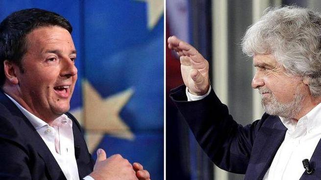 Matteo Renzi e Beppe Grillo (Ansa)