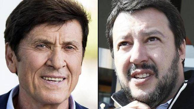 Gianni Morandi e Matteo Salvini (Ansa)